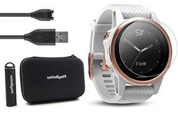 Garmin Fenix 5S Sapphire  Power Bundle | Includes HD Glass S