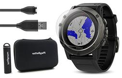 Garmin Fenix 5X Sapphire  Bundle with Screen Protector, Play
