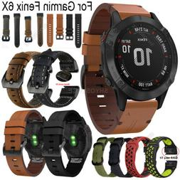For Garmin Fenix 6 6X Pro 5 5X Plus 3 HR Leather Watch Strap