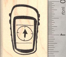 Global Positioning System Rubber Stamp, Geocaching Handheld