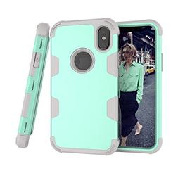 iPhone X Case, KMISS  3 in 1 Hard PC+ Soft Silicone Combo Hi
