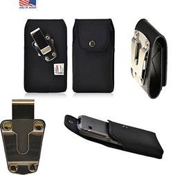 Rugged Black Canvas Super Strong Duty Belt Case Vertical wit