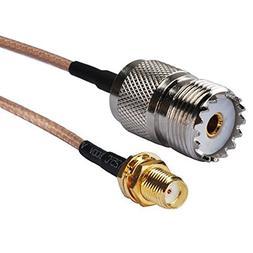 PersuingTech SMA to UHF 6in RG-316/U RF Coax Cable for Wouxu
